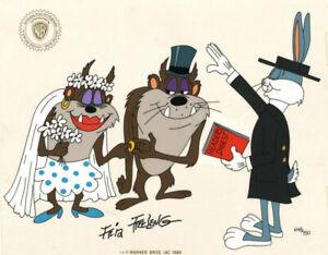 Warner Brothers-Taz Wedding Limited Edition Cel Signed By Friz Freleng