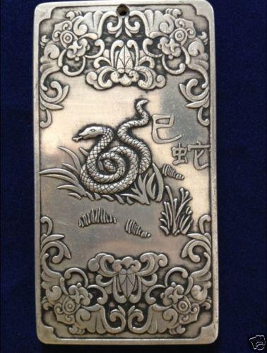 "Old tibetan silver tibet Nepal statue Chinese zodiac ""snake""amulet thangka #01"