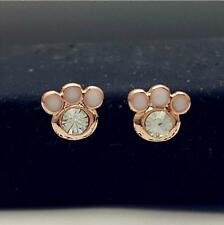 14K/14ct Rose Gold Plated Cute Small Animal Crystal Paw Print Stud Earrings Gift