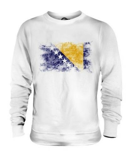 BOSNIA AND HERZEGOVINA DISTRESSED FLAG UNISEX SWEATER TOP BOSNA I HERCEGOVINA