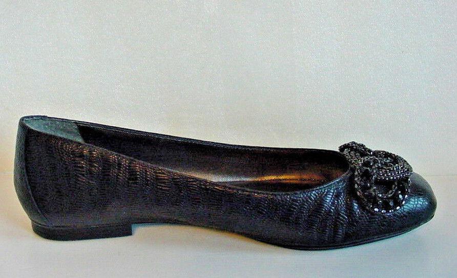 NIB Antonio Melani Aviana Ballet Flats shoes Black Leather Womens Sz 7.5 8