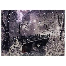 Christmas Tapestry Bridge Snow Scene Fibre Optic Lights Wall Hanging Battery Opp