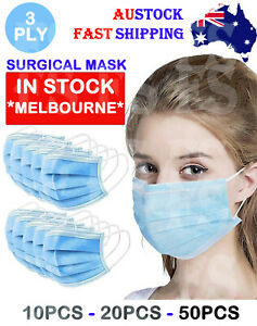 FACE MASK MOUTH MASKS SURGICAL 3 PLY PROTECTIVE ANTI BACTERIAL CE CERTIFIED MELB