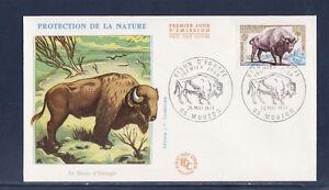 enveloppe-1er-jour-faune-bison-d-039-Europe-Mouzon-1974