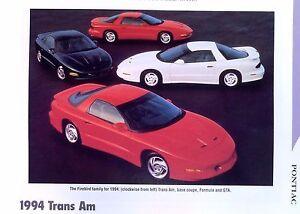 Details About 1994 Pontiac Firebird Trans Am Formula 57 Liter Infospecsphoto 11x8