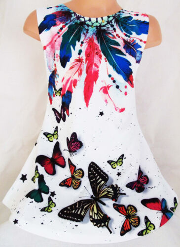 GIRLS 60s SHIFT STYLE MULTI COLOUR BUTTERFLY DREAM CATCHER PRINT PARTY DRESS