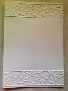 5-Blank-White-Embossed-Cards-amp-Envelopes-amp-Sleeves-Flower-Panels