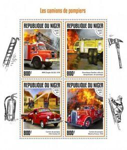 Niger - 2017 Fire Engines - 4 Stamp Sheet - NIG17416a