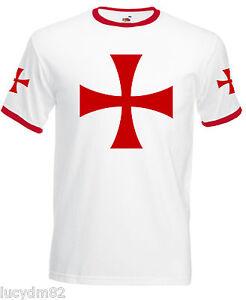T-SHIRT-UOMO-cavalieri-TEMPLARI-medioevo-CROCE-LOGO-maglietta-fronte-e-maniche