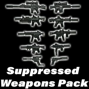 LEGO-Guns-Lot-Suppressed-Weapons-Pack-SWAT-Military-Army-Assault-Rifle-X10