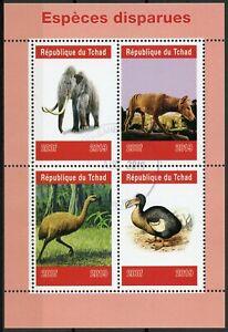 Chad-2019-CTO-specie-estinte-Animali-Selvatici-DODO-MAMMUT-4v-M-S-birds-stamps