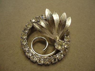 Small Vintage  Circular Clear Rhinestone  Flower Brooch