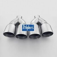 Quad Staggered Exhaust Tips Dual Twin 3.5 Round Outlet Angle Cut / Single 2.3 In
