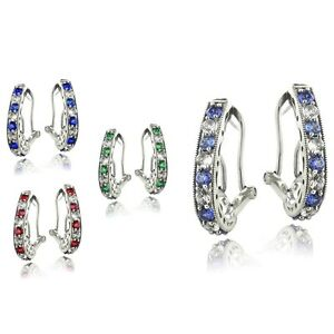 Sterling-Silver-2-5ct-Created-Oval-Clutchless-Earrings-4-Colors