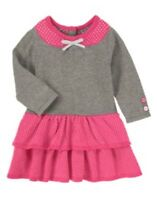 Gymboree Happy Elephant Gray N Pink W/ Dots Tiered Sweater Dress 12 18 24