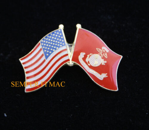 USA FLAG /& US MARINE CORPS BATTLE COLORS FLAG HAT PIN USS MCB MCAS MAW DIV FMF