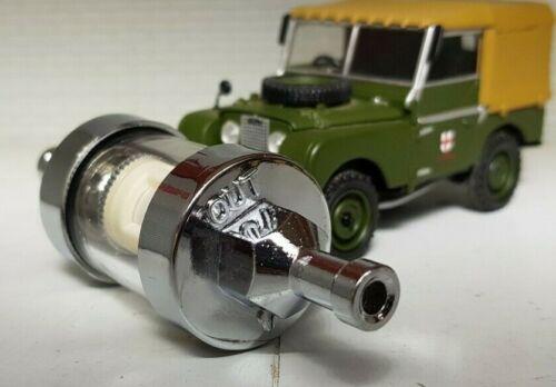 """Land Rover Serie 1 2 de cromo Vidrio Combustible Gasolina Inline Filtro de 1//4 /""""de 6mm Reutilizable"""
