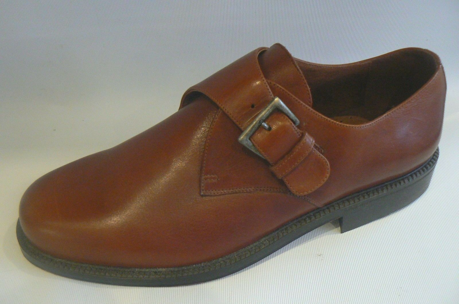 CALZADOS D PAQUIS Handmade Tan Cuir Moine Chaussures Taille 11 46 nouveau without tags