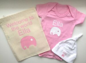 fdc9af571bb Image is loading PERSONALISED-BABY-GIFT-girls-elephant-baby-newborn-clothing -