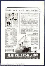 1926 White Star Line advertisement, SS HOMERIC, International Mercantile Marine