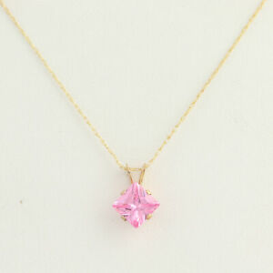 New-Pink-Ice-Pendant-amp-Necklace-10k-Yellow-Gold-18-034-Chain-Princess-1ct-Solitaire