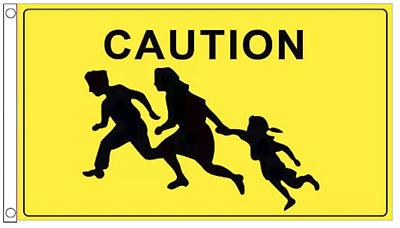 CAUTION FLAG 5X3 PEDESTRIAN WARNING SCHOOL CROSSING CHILDREN WARNING SIGN