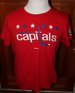 new product f4386 ddfdc Details about Washington Capitals Women's Large Reebok Winter Classic  T-Shirt Short Sleeve NHL