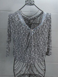 Free-People-White-Beaded-Sequin-Floral-Sheer-Off-Shoulder-Blouse-Top-M-Medium