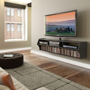 Details About Home Wall Mounted Wooden Tv Entertainment Center Shelf Media Storage Blacknew
