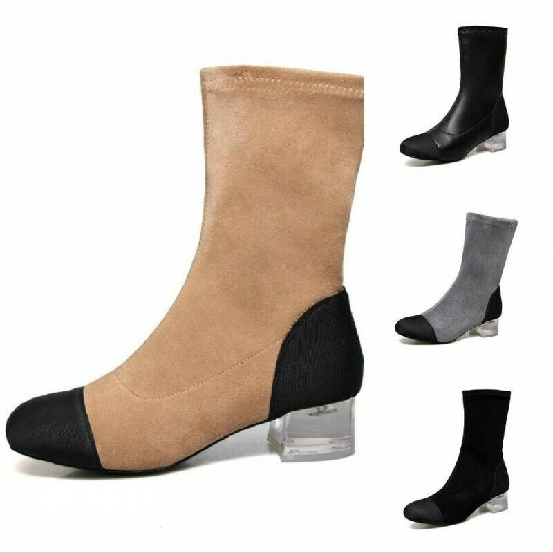 Chaussures Femme Bottes Mi-Mollet Clair Mi Talons Bout Rond Causal Chaussures à Enfiler Europe Hot