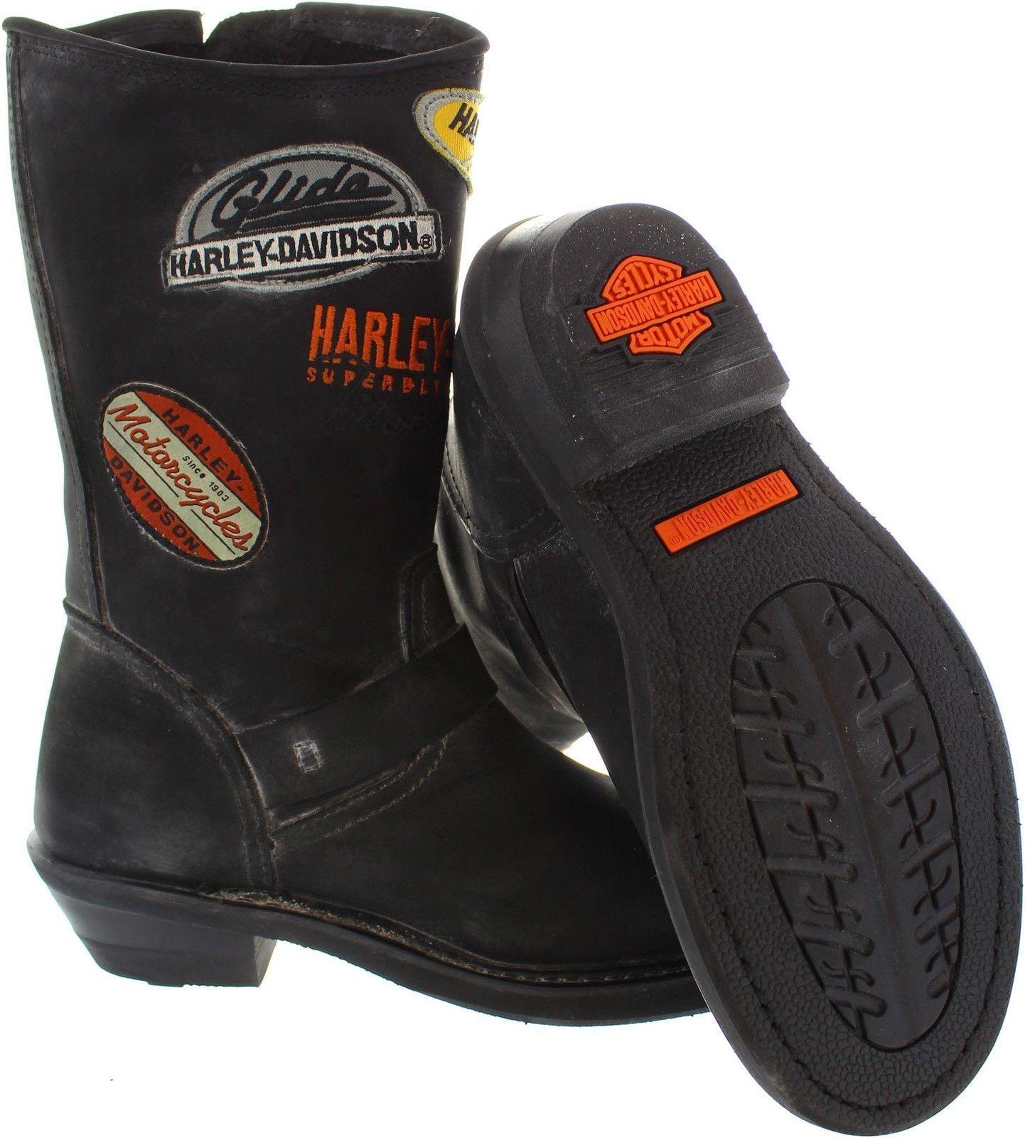 Damen Harley Schwarzes Davidson Brooklyn Patch Abgestaubt Schwarzes Harley Leder Biker Boots f94ed1