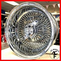13x7 Rev 100 Spoke Wire Wheels Straight Lace All Chrome Rims (4pcs)
