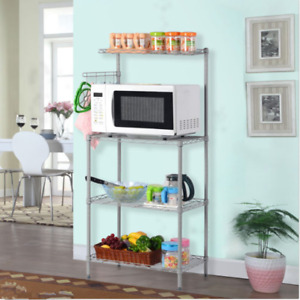 Baker Rack Shelves Kitchen Cart Workstation 3 Tier Microwave Stand Oven Storage
