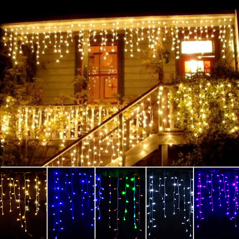 96 led hanging icicle snowing curtain lights outdoor fairy. Black Bedroom Furniture Sets. Home Design Ideas
