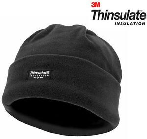 Mens-Black-Outdoor-Warm-Knitted-Beanie-Hat-Cap-Ski-Black-Thinsulate-Fleece-Army