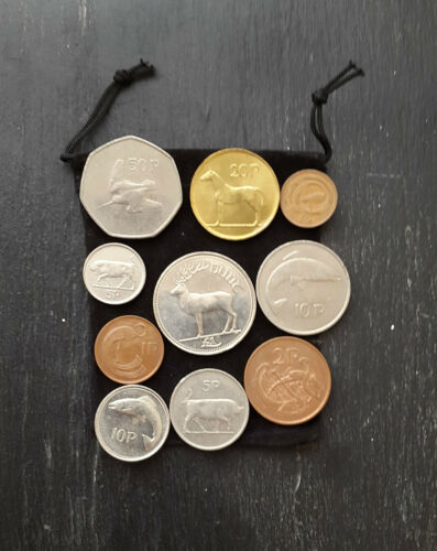 Bag Of 10 Different old Irish Coins 1//2p 1p 2p 5p 10p 20p 50p 1 Punt Mixed Dates