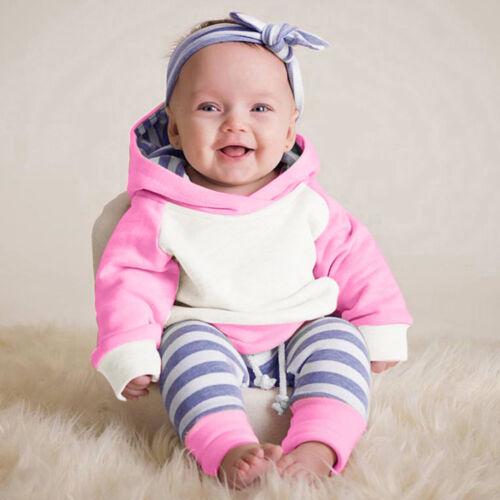 3PCS Newborn Toddler Baby Girls Outfits Clothes Hoodie Top+Pants+Headband Set VT