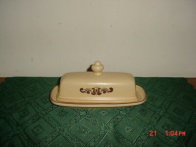 """2-PC PFALTZGRAFF """"VILLAGE BROWN"""" BUTTER DISH/6-28/OLD CASTLE STAMP/CLEARANCE!"""