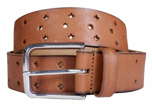 Mens 40mm Wide Genuine Leather Roller Pin Buckle Trousers Belts S-3XL