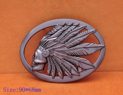 Heavy Duty Guncolor Southeast Tribal Indian Chief Head Leather Belt Buckle