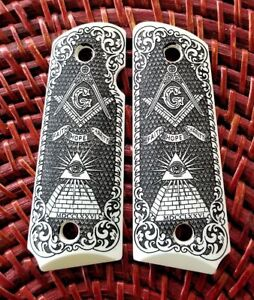 Compact-1911-custom-engraved-ivory-grips-Masonic-All-Seeing-Eye-Scroll-Checkered