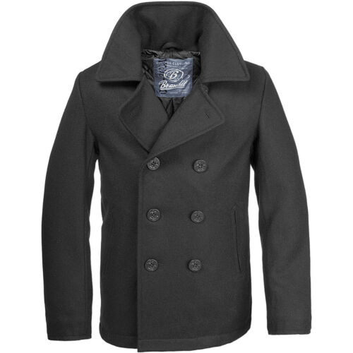 Brandit Classic Us Navy Pea Coat Warm Mens Marine Army Reefer Wool Jacket Black