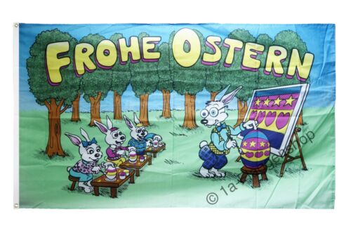 Fahne Flagge Frohe Ostern Hasenschule Oster Hissflagge 90x150cm