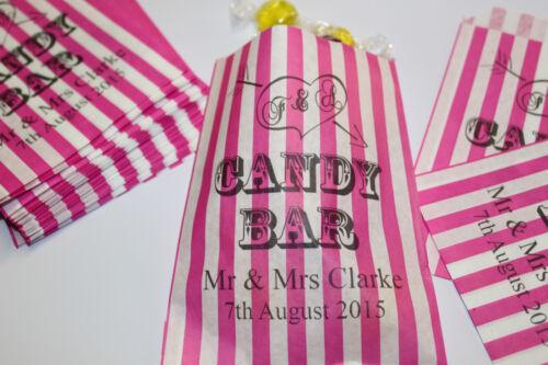 Personnalisé Candy Bar-Mariage Sucré Sacs-Buffet sucré panier-à rayures rose