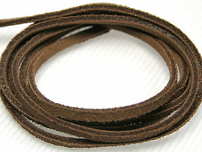 ca.4 x 2 mm dunkelbraun; WL03 Lederband 1 Meter Wildleder Band
