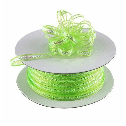 """1//8/"""" 50 Yards Organza Iridescent Center with String Pull Ribbon Bow"""