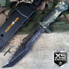 """12"""" Hunt-Down Camo Stonewash Full Tang Hunting Survival Knife with Fire Starter"""