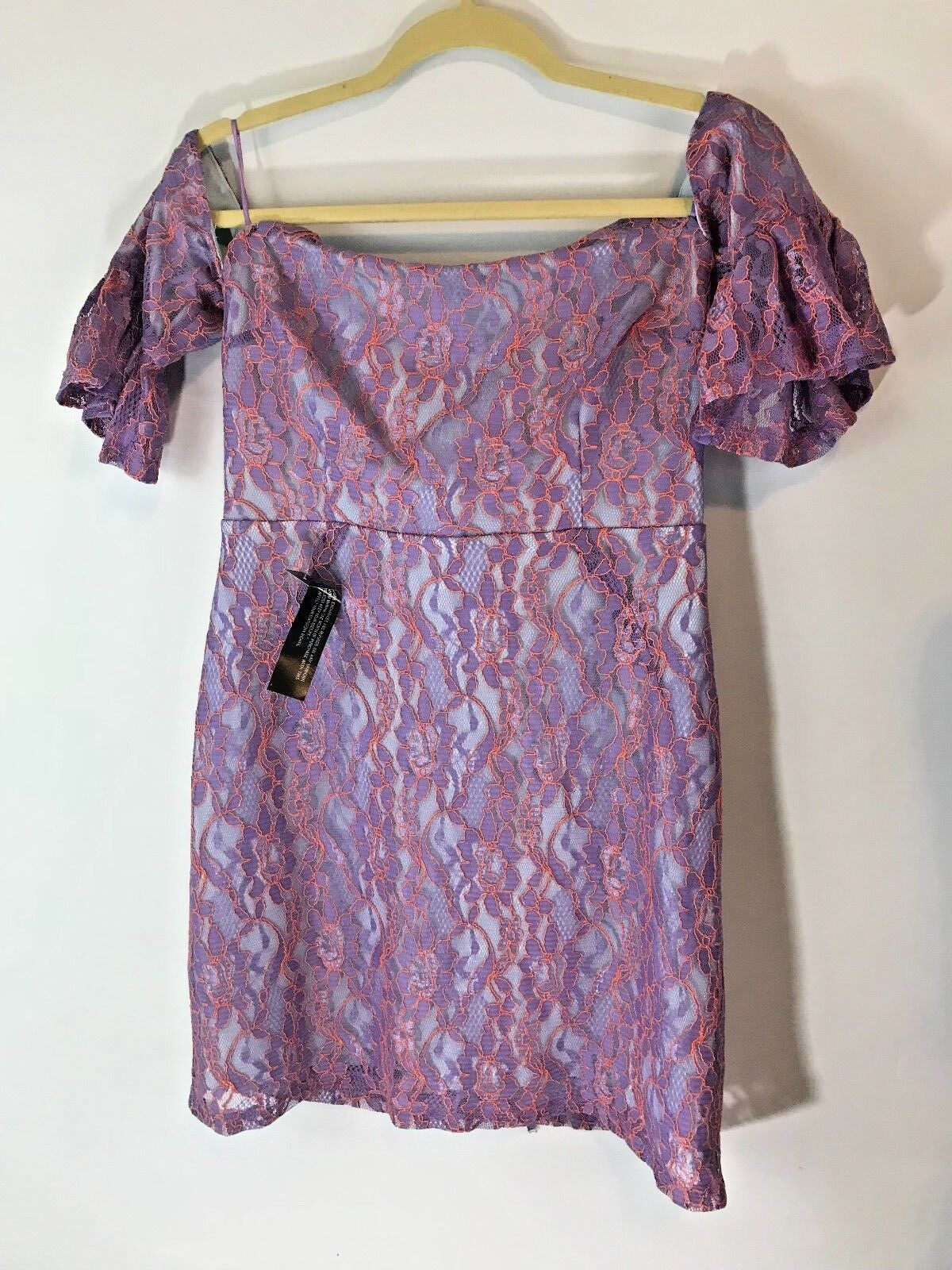 NWT Topshop purplec purplec purplec Lace Bardot Flute Off-the-Shoulder Sleeved Dress Size 12 cfa5dd
