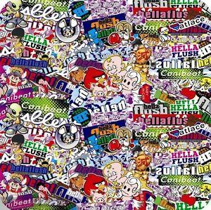 12 x 60 jdm cartoon hellaflush sticker bomb vinyl wrap sheet decal