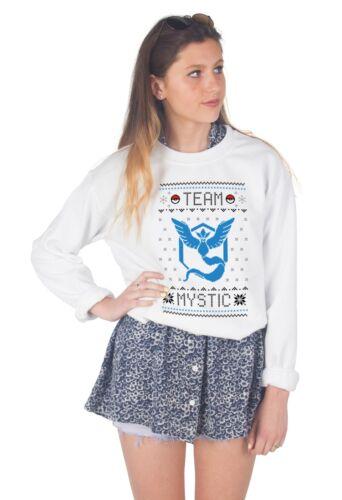 Team Mystic Christmas Sweater Top Jumper Sweatshirt Xmas Ugly Pokemon Go Valor